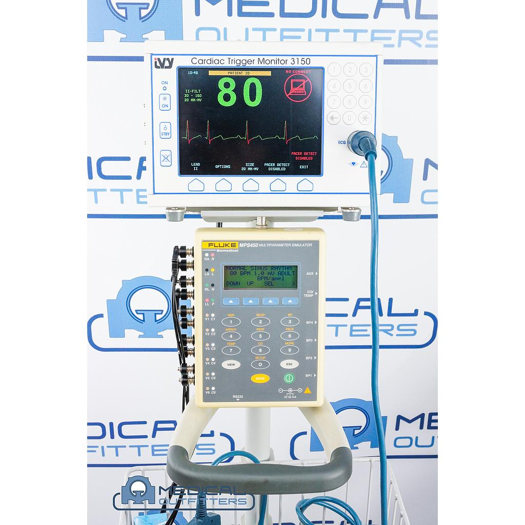 IVY 3150 Cardiac Trigger Monitor with Cart/Basket (ECG Test PN 453567976141