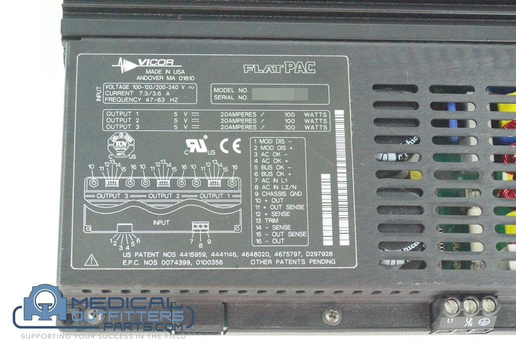 Philips CT Brillance Power Supply, 3 Output, 100-120/200-240V, 7.3 / 3.6 A, 47-63Hz, PN VI-RU000-EWWW