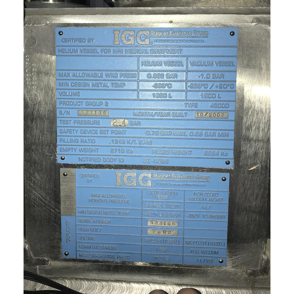 2002 Philips Acheiva 1.5T Magnet Only, PN 989603006951